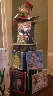 Cutesy makes a holiday book tower.