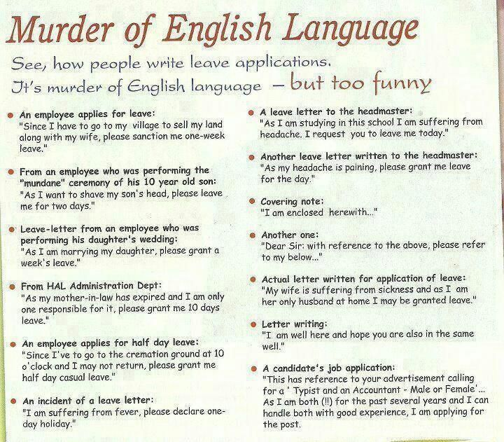 Funny Leave Applications  English Made Funny