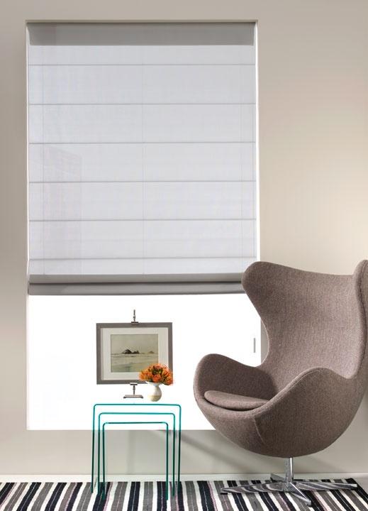 as shown:  cascade roman shade | sheer elegance | silver