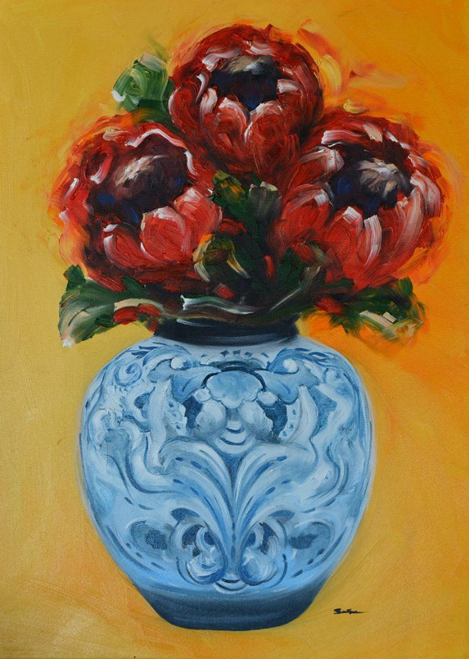proteas in china vase oil on canvas 600x400mm