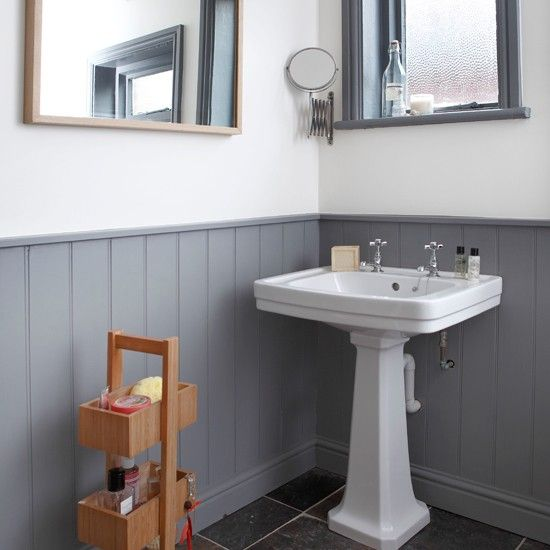 Grey and white panelled bathroom | bathroom decorating ideas | Style at Home | Housetohome.co.uk