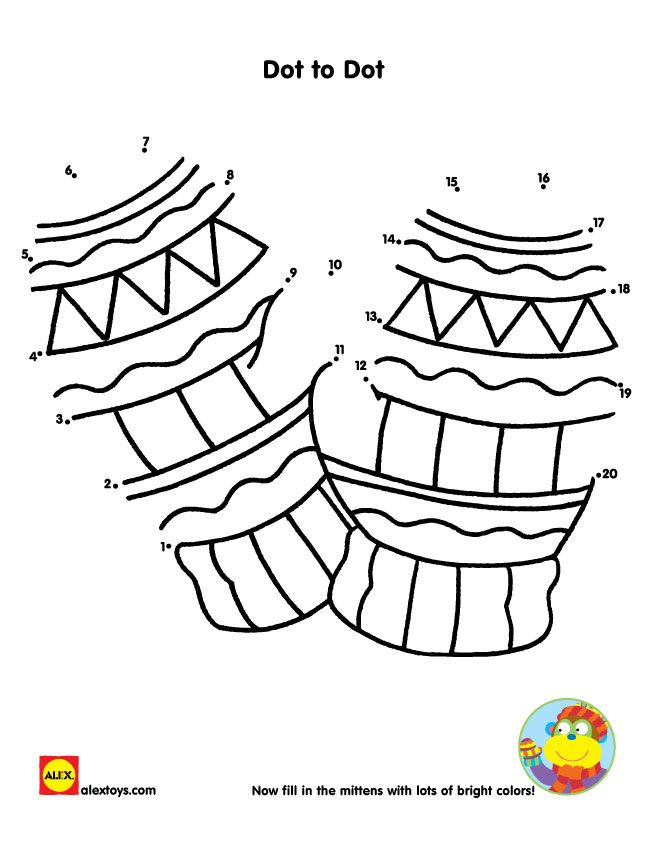 Count from 1 to 20, connecting the dots and finishing this mitten #printable | alexbrands.com
