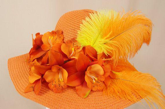 Gold and Orange Hat  Floppy Orange Hat  Summer Hat  Floral