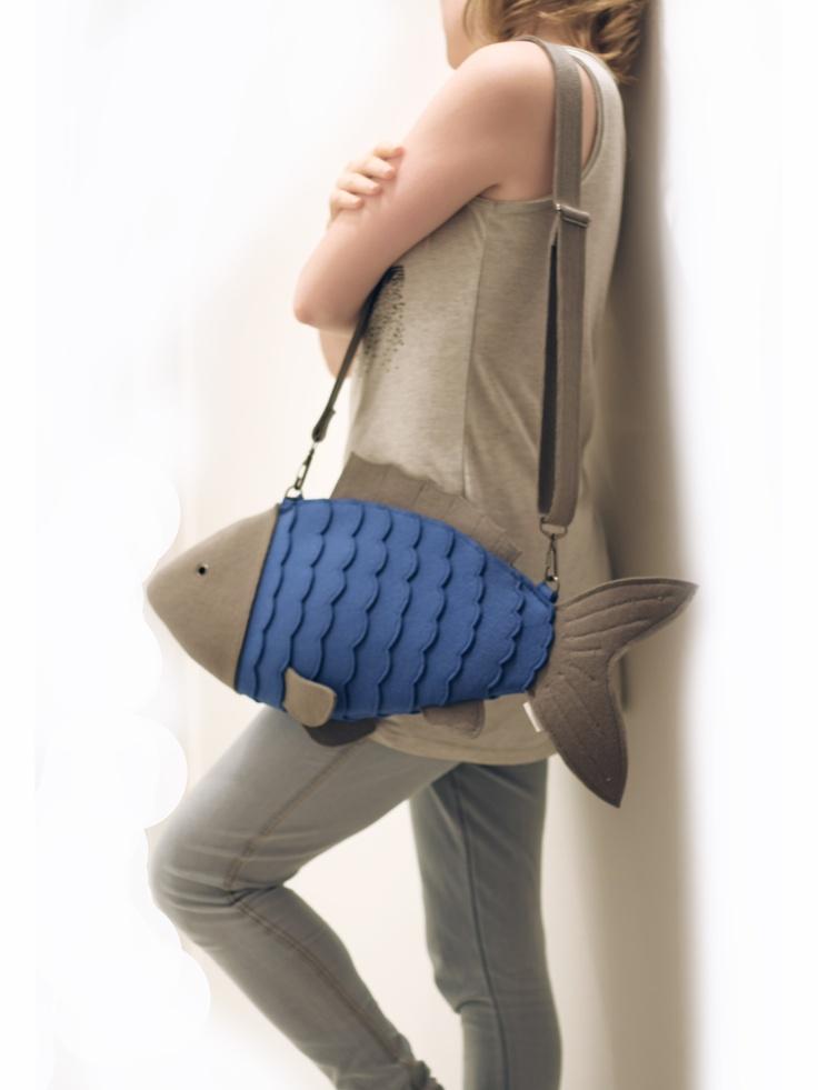 Blue Felt Fish Bag Fish Purse by krukrustudio @ragazzoagitato