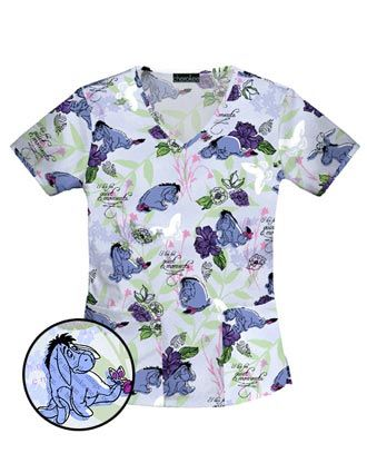 Disney Scrubs | Buy Disney Women V-Neck Love Forever Print Nursing Scrub Top for $15 ...