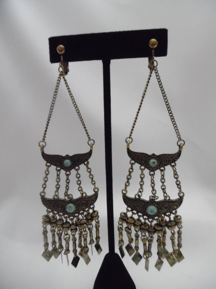 Clip On Br Long Chain Earrings W Turquoise Stones5 1 2