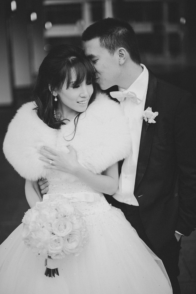 Dreamy Winter Wedding, bangs, white dress, black and white photography. ©Ryan Flynn Photograph. www.ryanflynnphotography.net