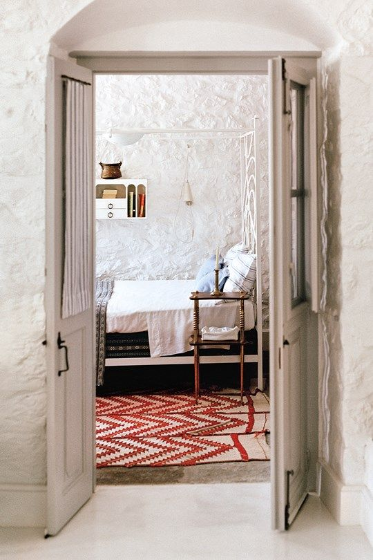 Bedroom at the house of interior designer Tino Zervudachi in Hydra, Greece. 101 Most Astoundingly Beautiful Hotel Rooms