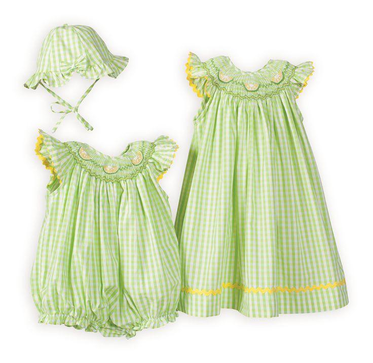 Matching Hand Smocked Easter Dresses Lemon Lime Stripes Matching Sister Dresses
