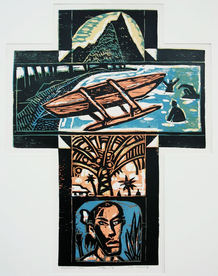 Nigel Brown Rarotongan Cross (1994) Coloured woodcut  900 x 700mm
