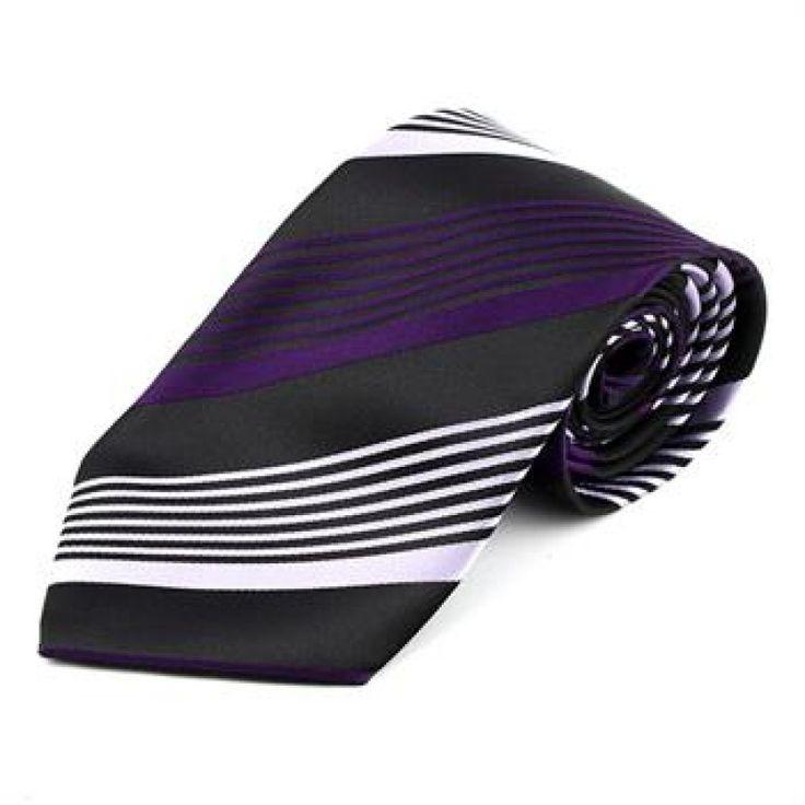Галстук черный с фиолетовыми и светло-фиолетовые полоски - купить в Киеве и Украине по недорогой цене, интернет-магазин