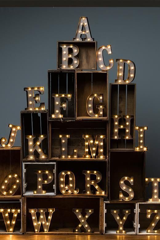 """These letters are same font as our 9"""" Battery operated light range at www.rocketandrye.co.uk"""