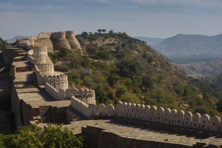 The great wall of India - Kumbhalgarh Fort. Under the rule of the king Rana Kumbha of Mewar, his kingdom stretched right from Ranthambore to Gwalior. Out of the 84 fortresses that defended Mewar from its enemies, about 32 were designed by Rana Kumbha himself. Among all the fortresses designed by Rana Kumbha , Kumbhalgarh has been the most impressive, famous and the massive one with a wall of the length of 36km. It was built in the 15th century.