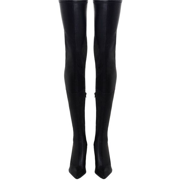 ZIMMERMANN Stretch Thigh Boot (€860) ❤ liked on Polyvore featuring shoes, boots, black high heel boots, black over-the-knee boots, black leather boots, stretch-leather boots and over-the-knee high-heel boots