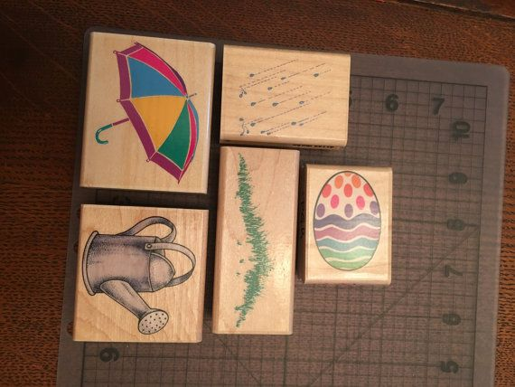 Easter Themed Stampin' Up Stamps Rare Vintage Retired  #easter #holiday #spring #summer #rain #april #aprilshowers #may #mayflowers #egg #easteregg #rain #wateringcan #garden #umbrella #grass #stamp #stamping #stampinup #crafting #crafts #DIY #MYO #creative #makers #handmade #homemade #paper #papercrafts #cardmaking