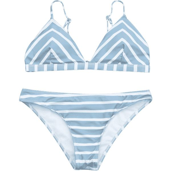 Chevron Striped Cami Bikini Set (80120 PYG) ❤ liked on Polyvore featuring swimwear, bikinis, bikini swim wear, bikini two piece, bikini beachwear, chevron swimwear and blue and white bikini
