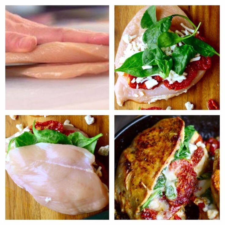 Fyldt kyllingebryst,kylling,mozzarella,tomater,basilikum