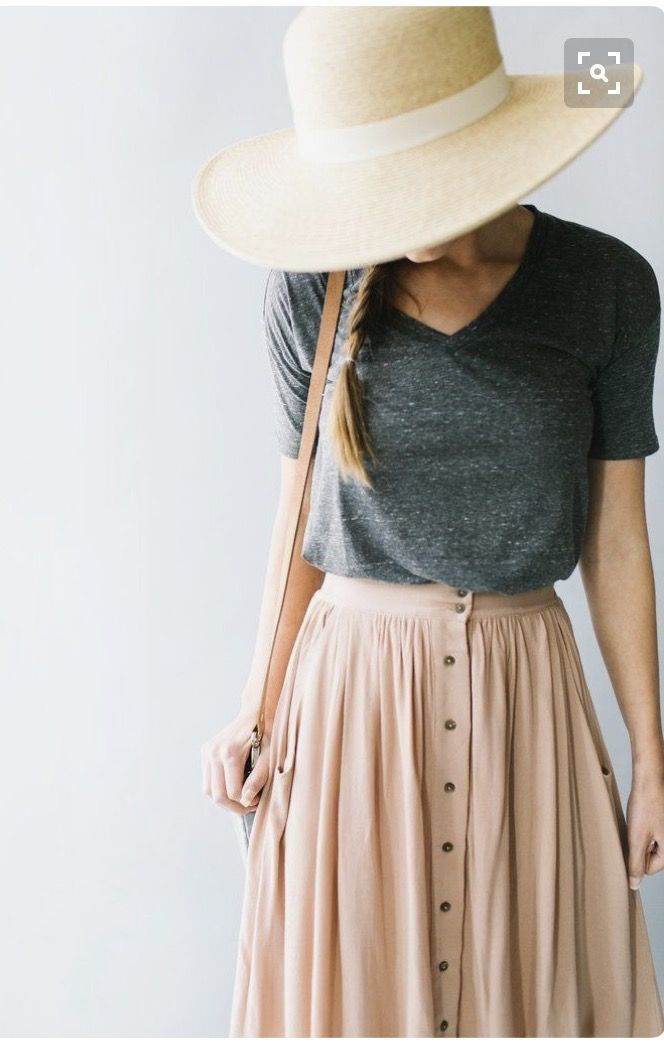Boho chic, Love the long skirt, Bold hat, Simple yet Stylish