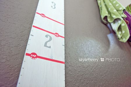DIY growth chart to hang and record her height...all for less than $20!