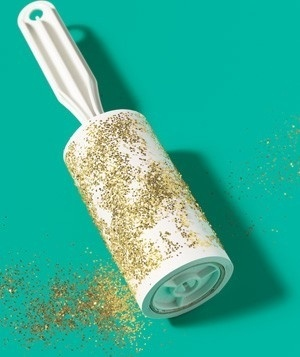 Lint Roller as Glitter Pick-Up Clean up glitter (and tiny pieces of construction paper) after craft time.