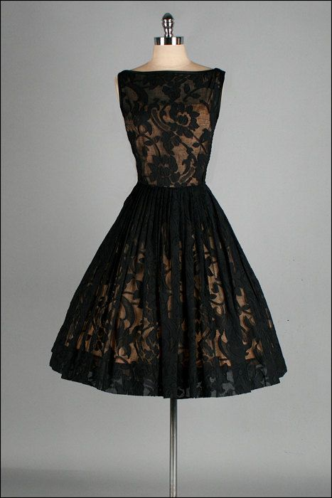 Lacy & Elegant 1950s Cocktail Dress ♦ A Jack Stern Originals' gold acetate lining with sheer black lace overlay; full, pleated skirt