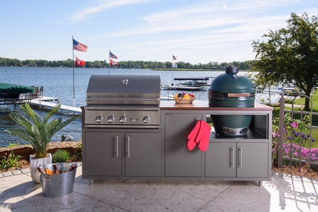 Challenger Designs 83 Outdoor Kitchen Island With Big Green Egg Cutout Outdoor Kitchen Island Outdoor Kitchen Design Outdoor Kitchen