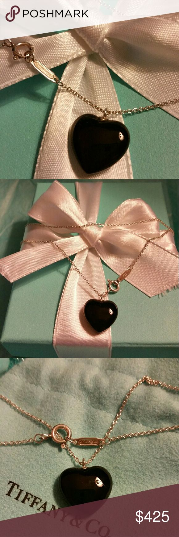"Tiffany & Co. Onyx Heart Necklace Beautiful Heart Pendant on a 16"" Tiffany & Co. Necklace! See hallmark! Pendant is Not removable from necklace. Just cleaned at Tiffany's and ready to wear or Gifted! Makes a great Mother's Day or Graduation gift! Includes Tiffany pouch (pictured). Displays not included. Also see the same necklace in Turquoise and Rhodonite! Prices reflect stone type. Tiffany & Co. Jewelry Necklaces"