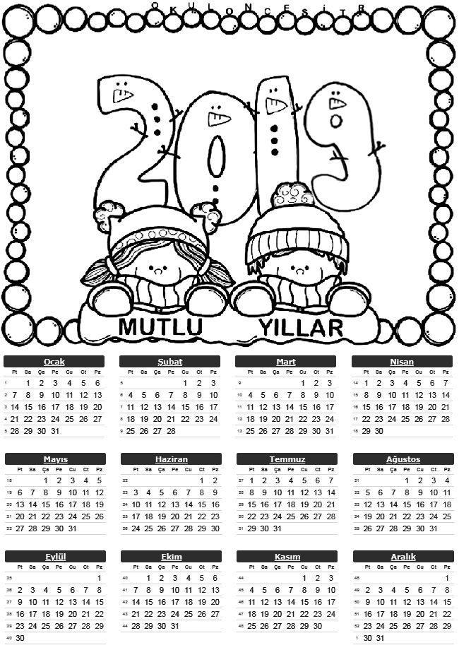 2019 Tek Sayfa Takvimleri χειμώνας Pinterest School Preschool