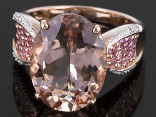 7.89ctw Cor-de-rosa Morganite(Tm) With Pink Sapphire And Diamond Accent 14k Rose Gold Ring