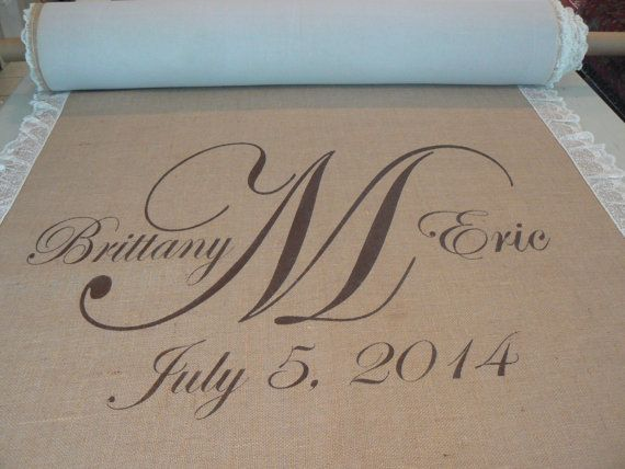 50 ft Burlap custom aisle runner with lace by IDoAisleRunners, $210.00