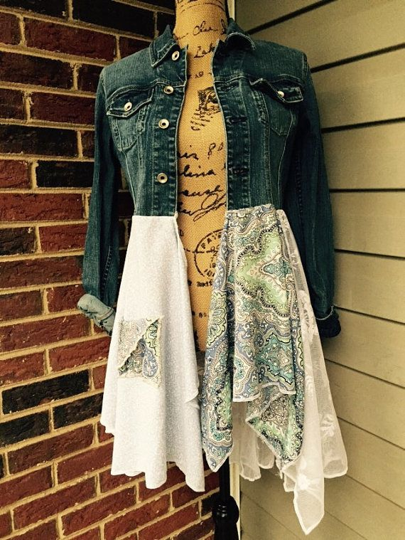Denim jacket dress with lace and plaid. Lagenlook OOAK Romantic Gypsy Festival Upcycled boho chic bohemian hippie shabby chic