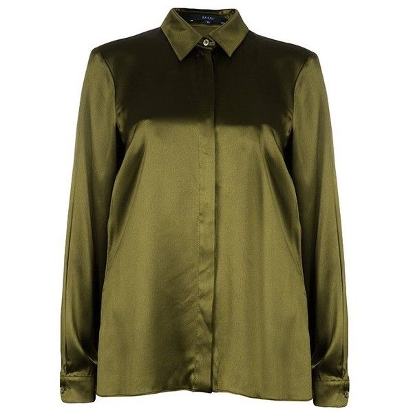 Gucci Olive Green Satin Blouse M ❤ liked on Polyvore featuring tops, blouses, olive green top, gucci blouse, button front blouse, loose blouse and loose fitting tops