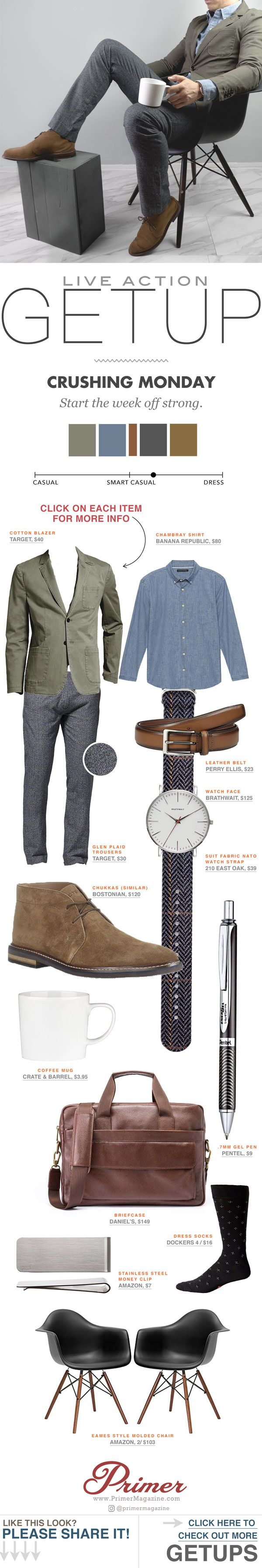The Getup. Men's outfit ideas business casual smart casual   blazer chukka boots men fashion