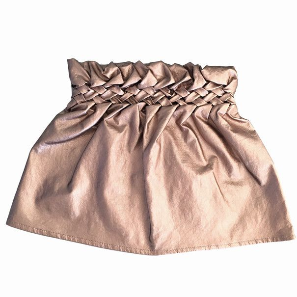 leatherette weave skirt pink