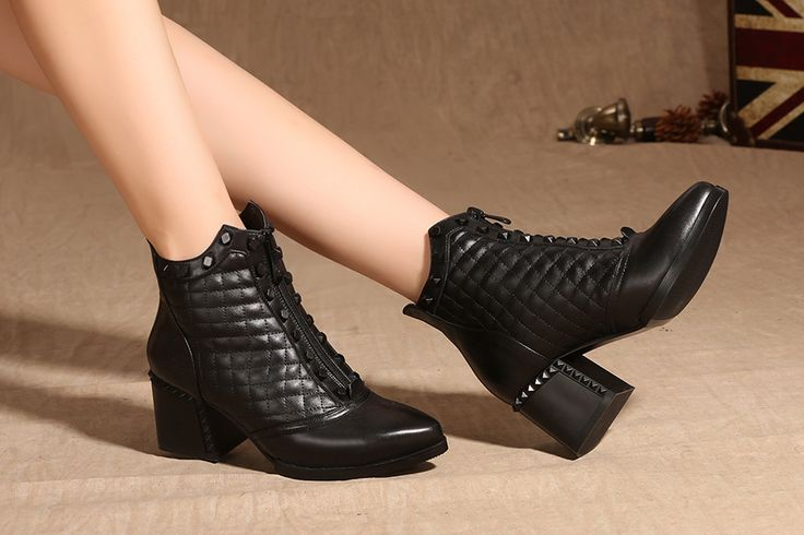 Casual Women's Chunky Med Heel Round Toes Ankle Boots