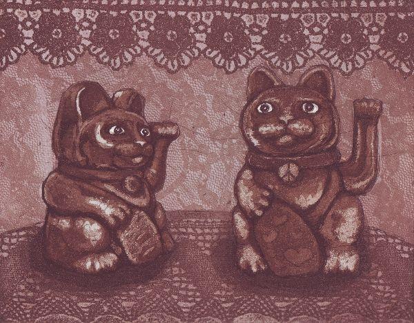 Maneki neko x 2 Lucky Cat x 2 www.annamaija.com www.facebook.com/annamaijamattilas