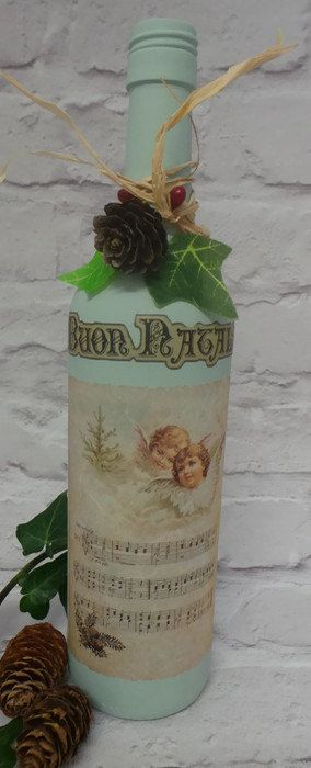 Christmas Decorated Wine Bottle Christmas Wine by SCWVintage