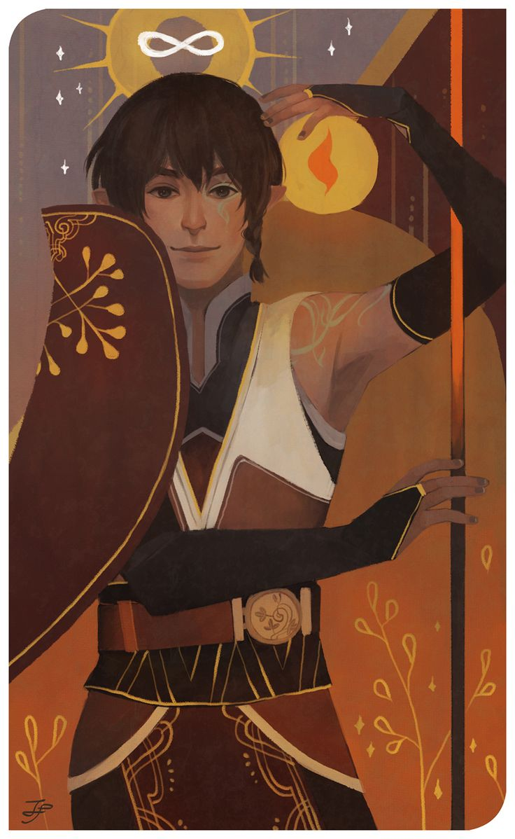 by xfreischutz on tumblr - companion cards for minsuil of cian and elrian lavellan ;u; thank you for the commission!