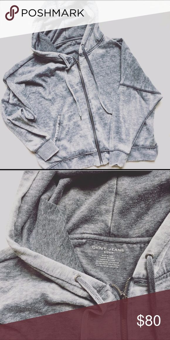 DKNY Classic Gray Zip Up Hoodie In excellent condition. Heathered multi-colored gray DKNY zipup hoodie! Sooo comfy and perfect for fall nights!   Open to offers and/or trades on this item. Thanks for looking! :-) Dkny Tops Sweatshirts & Hoodies