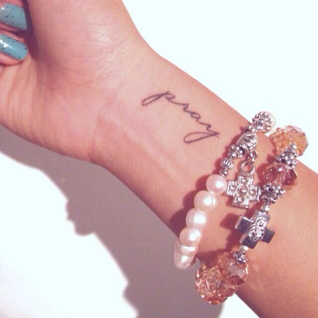 Tattoo, wrist, pray, faith, girl, rosary, bracelet