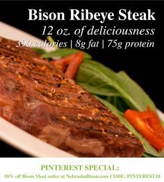 Bison Ribeye Steak // The flavorful ribeye contains more marbling than our other steaks, giving it irresistible taste and making it a perfect fit for the grill! Its larger size, also makes it a great choice for cutting up to use in salads, tacos, wraps or other delicious steak dishes!