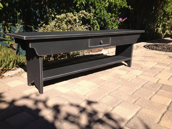 Wood Bench with Shelf  and Drawer or TV by SquareNailFurniture, $180.00