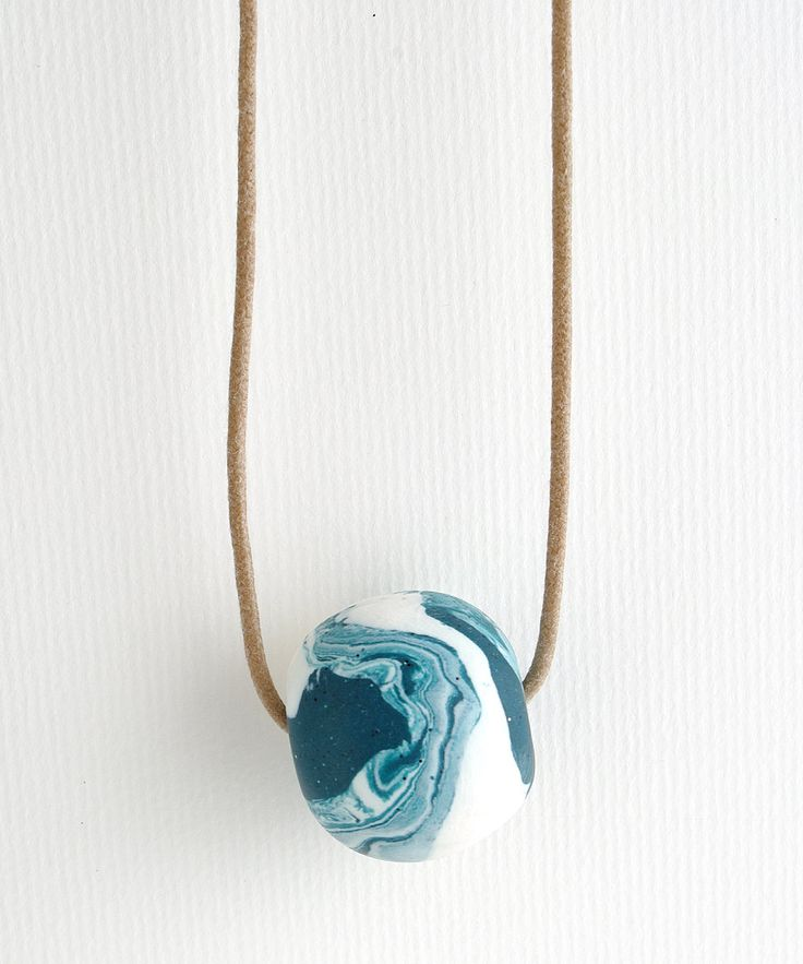 BIG BEAD Polymer Clay Necklace by colourwork on Etsy