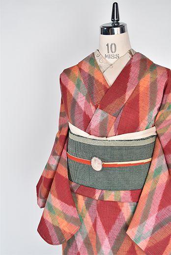 カラフルアーガイルチェックがモダンなウール単着物 - アンティーク着物・リサイクル着物のオンラインショップ 姉妹屋