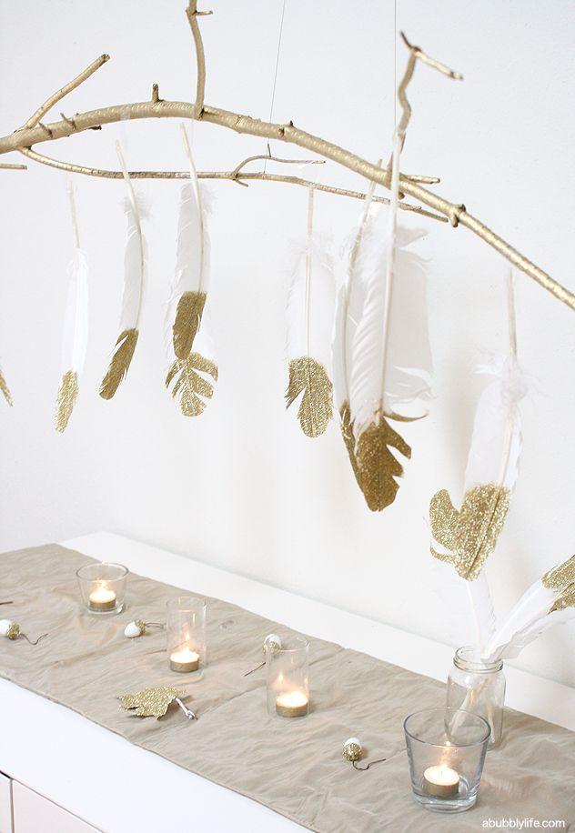 DIY Glitter Feathers Branch Chandelier #HolidayIdeaExchange