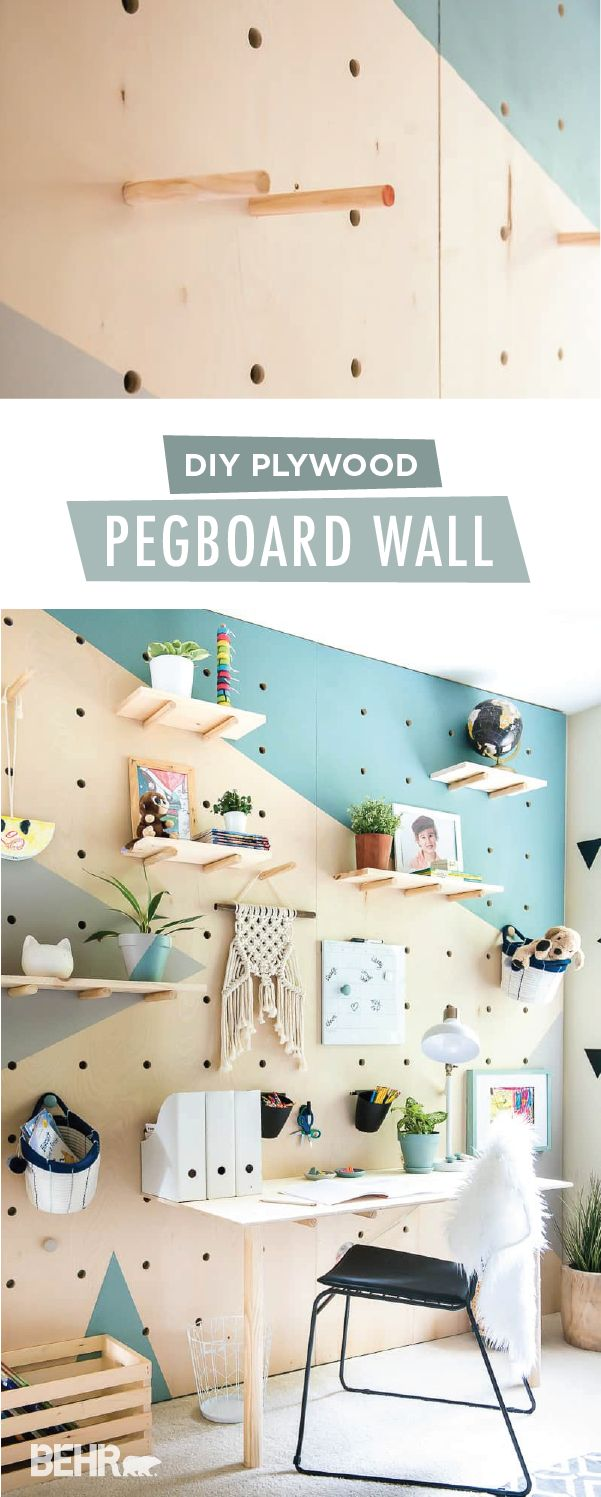 Give your child the bedroom of his dreams with this DIY plywood pegboard wall from Aniko, of Place of My Taste. Aniko used the BEHR 2018 Color of the Year, In The Moment, to bring a pop of blue to this geometric wall mural. Then, she added the BEHR 2018 Color Trends shade Off The Grid as a neutral accent color. Create this modern homework space in your home with Aniko's easy tutorial.