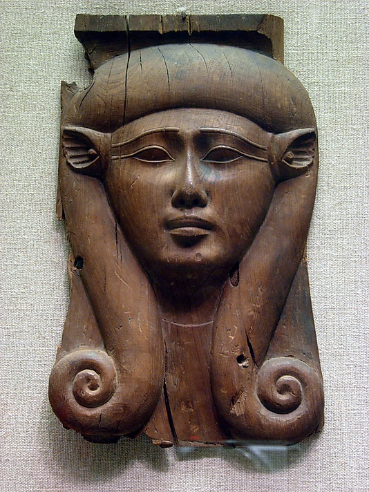 Panel from a Hathor Column  Period: Late Period Dynasty: Dynasty 26–30 Date: 688–342 B.C. Geography: Egypt Medium: Cedar Dimensions: H. 44.8 cm (17 5/8 in); w. 26.7 cm (10 1/2 in) Credit Line: Gift of Joseph W. Drexel, 1889