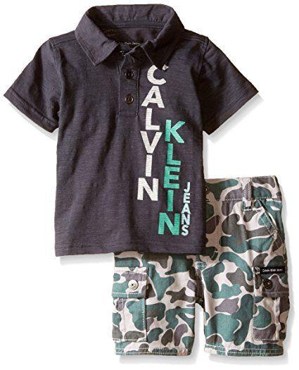Calvin Klein Baby-Boys Jersey Polo Shirt and Camo Twill Shorts, Gray, 12 Months