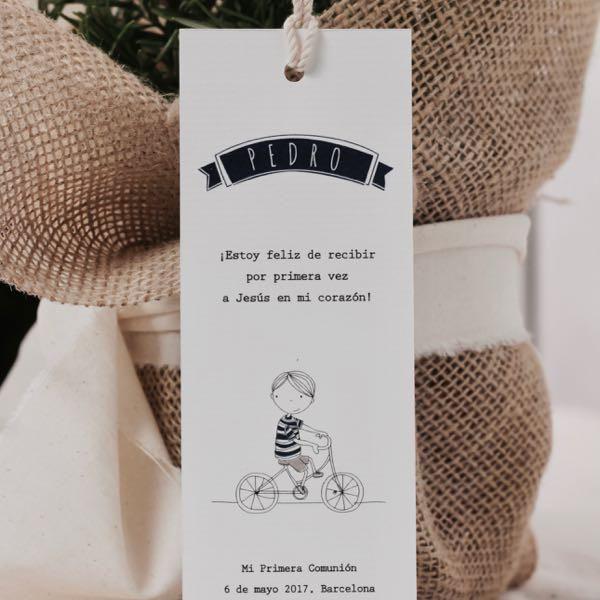 Punto de libro primera Comunión niño / La Fiesta de Olivia Barcelona / Papelería personalizada