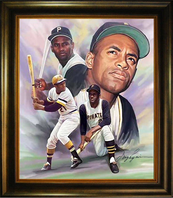 Oil Painting depicting Hall of Famer Roberto Clemente (1934-1972) of Puerto Rico. http://www.star-portrait.org